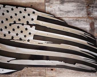 3 Dimensional American Grey Weathered Flag