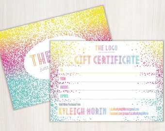 White Confetti Gift Certificate; Home Office Approved; Digital 7x5 Gift Certificate