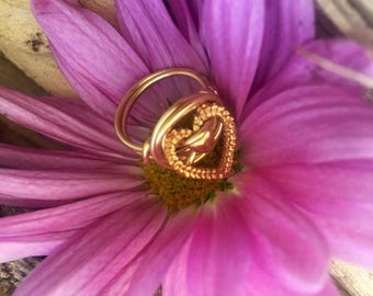 Wire wrapped gold heart ring