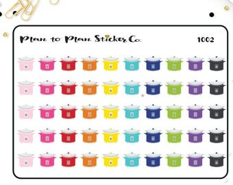 1002~~50 Crockpot Slow cooker Planner Stickers.