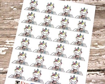 Unicorn Stickers - Unicorn Planner Stickers - Character Stickers - Chore Stickers - Kawaii Unicorn Stickers - Unicorn Washing Dishes