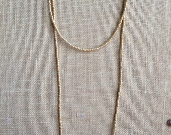 Double wrap metallic Gold necklace, wrap beaded necklace, Long metalic gold necklace