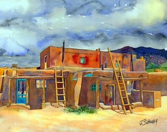 Taos Pueblo - Watercolor Giclee by John Schooley