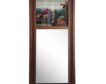 Vintage Mirror w/ Reverse Painted Scene