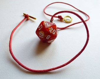 Danger - Dungeons and Dragons D20 Necklace, Pendant, red, gold, orange, shimmer, RPG, D&D, Jewellery, Dice, fire