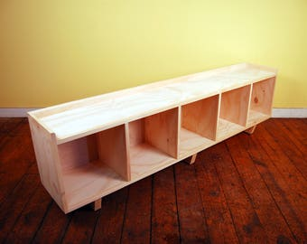 Five Cube Bench/Entertainment Center Finished/Unfinished Modern Minimalist Furniture