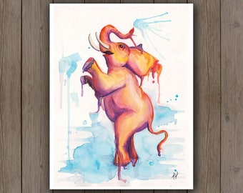 Watercolour Art Print - Elephant Playing and Splashing / Happy Animal Art / Splatter Handpainted Watercolor Painting / Cute Nursery Art