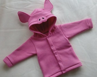 Piglet hoodie - Hooded sweat-shirt with pig snout and ears -  NB