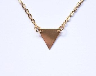 Triangle Necklace - Gold Plated Triangle Pendant - Geometric Minimalist Jewellery - Gift for Her -  Wedding Triangular