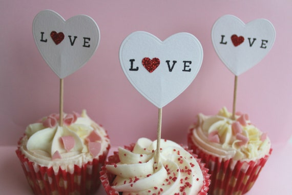 Love Shape Cake Decoration : Cupcake toppers, Love heart shaped cake decorations for ...