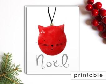 christmas card printable - printable christmas card, cat christmas card, unique christmas card, cute christmas card, christmas cat, funny