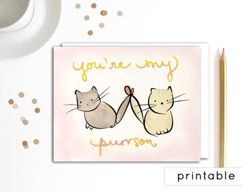 printable valentine card, printable valentines day card, valentine card printable, valentines day card printable, cat card, cute card, him