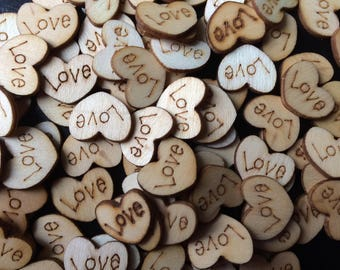 50 x Wooden Love Hearts