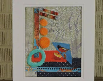 Oriole Original Mixed Media Collage Art