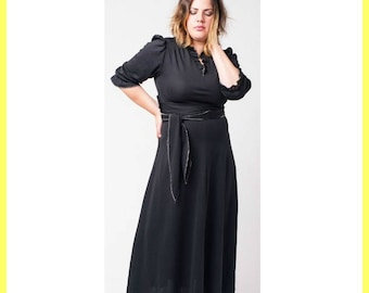 Black 70's Glamour Maxi Dress