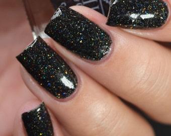 Jorden - Black Holographic Glitter Nail Polish