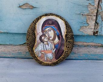 Mini Virgin Mary Icon,Wood Fridge Magnet,Magnet Icon,Small Icon Magnet,Small Wooden Magnet,Virgin Mary Magnet,Small Saint Mary Icon,Icon Art