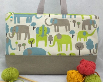 Large two Compartment Knitting Bag, Knitting Project Bag, Crochet Project Bag, Embroidery Project Bag, All purpose Tote, Diaper Bag