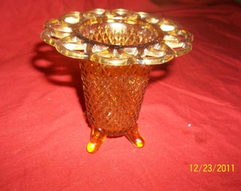 imperial glass amber footed spooner- vase