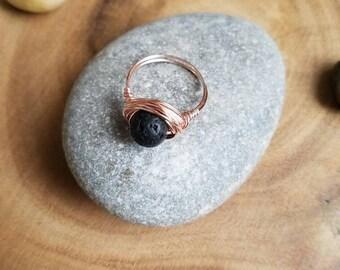 Black Lava Stone Diffuser Ring. Calming stone ring. Oil diffuser. Lava stone ring, essential oils ring, wire ring, boho ring, gift idea.