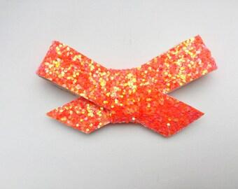 Tangerine Glitter Sailor Bow, baby hair clips, baby hair bows, sailor bows, glitter bows, headbands, baby girl