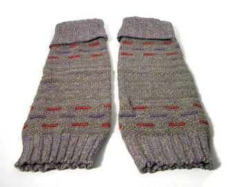 Vintage Leg Warmers Gray Leg Warmers Vtg Boot Liners Boot Cuffs Vtg Dance Wear  Gray Purple Red White Acrylic Leg Warmers Retro Leg Warmers