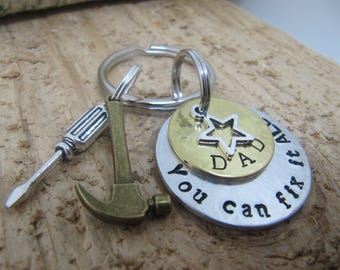Fathers Day gift, Tool key chain, Gift for Dad, Hammer charm , Hand stamped key chain, key chain for Dad, Gift for Father, Gift for him