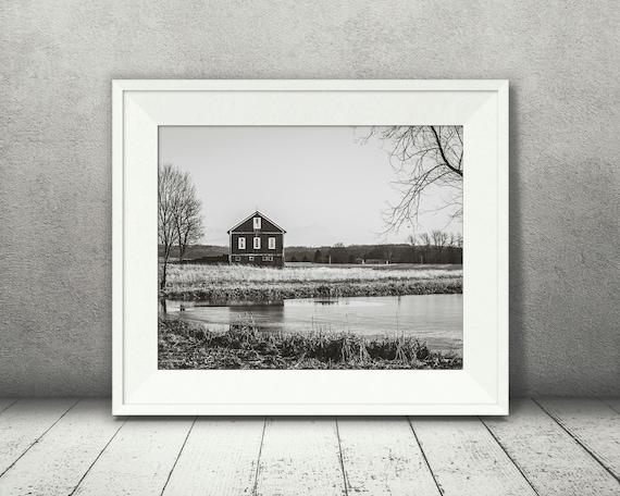 Black & White Barn Photograph - Fine Art Print - Farm Photography - Wall Art - Wall Decor -  Barn Pictures - Farm House Decor - Lake Scene