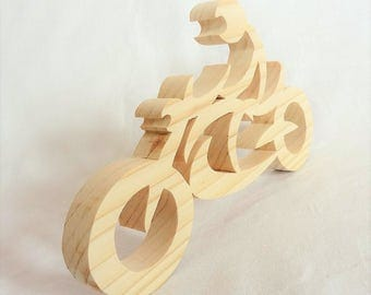 motorcycle coaster, decoration of natural pine wood