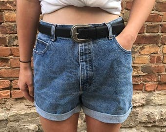 A Retro Jam- One of a Kind High-Waisted Denim Shorts / Custom Made to Order / Recycled Denim / Mid Length / Vintage and Trendy