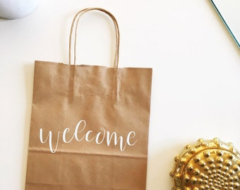Custom gift bag, welcome bags, personalized paper bags, bridesmaid bags, welcome wedding bag, custom kraft welcome bag, wedding favors