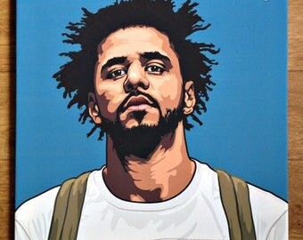 J Cole, canvas, art work, pop-art, picture / print on cloth / art / hip-hop / paints /*watermark will be removed