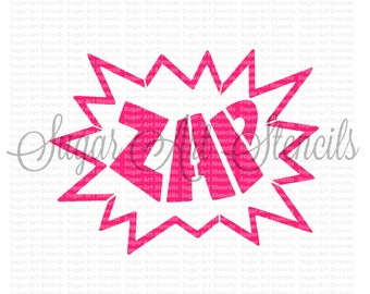 Cookie stencil comic book style frame  zap word NB700143