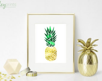 Pineapple Foil Print, gold, green, home, shine