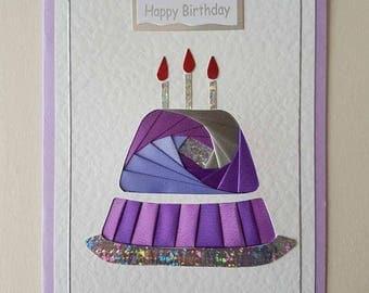 Lovely hand made iris folded, cake birthday card, handmade card