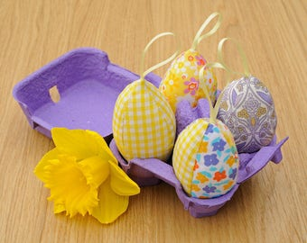 Soft Fabric Hanging Easter Eggs colourful Spring decoration