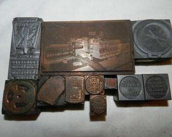 11 Print blocks - Vintage Letterpress Advertising Printing Blocks - Wood and Metal - Esskay Meats, Westinghouse, Granger tobacco, Hock   9-C