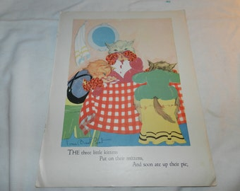 Three Little Kittens Book Page - Artwork from Vintage Children's Book - Ready to Frame Print - Nursery Art -Ephemera- Fern Bisel Peat 31-113
