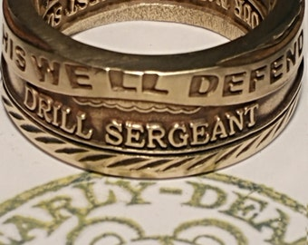 Drill Sergeant challenge coin ring. U.S Army