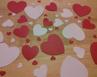 100 red and white mixed size paper heart confetti valentines day heart wedding confetti table scatters table decorations centrepieces