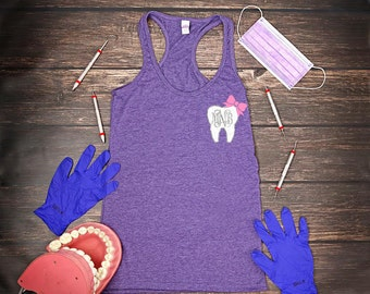 Glitter Tooth Tank | Custom Monogram | Dental Hygienist Tank | Racerback Tank | RDH Graduation Gift | Dental Shirt | Dental Assistant Shirt