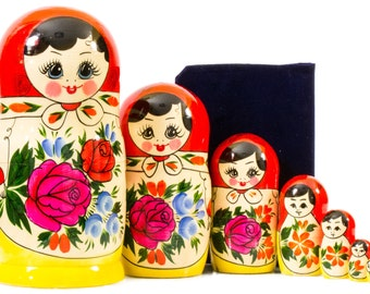 Russian Nesting Doll - BIG SIZE - 7 dolls in 1 - Russian SEMENOVO Traditional - Hand Painted in Russia