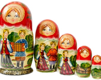 "Russian Nesting Doll - ""Russian Village. Scene A"" - MEDIUM SIZE - 5 dolls in 1 - Hand Painted in Russia - Traditional Matryoshka Babushka"