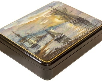 """Russian Fedoskino Lacquer Box - BIG SIZE - """"Sea Landscape"""" - Hand Painted in Russia - Collectible Art Quality"""