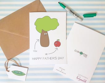 Sweet Father's Day Card - Apple Doesn't Fall Far from the Tree - Quirky Alternative Cute Silly Dad Card - Happy Father's Day - Charity Card