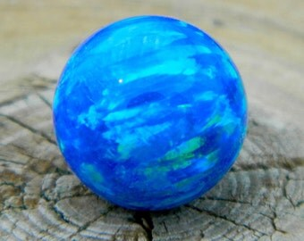 8mm Synthetic blue opal marble stone for interchangeable jewelry