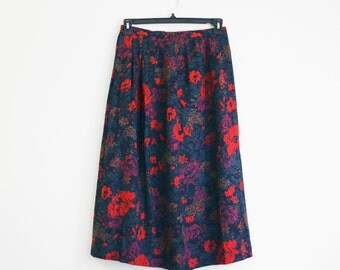 Vintage 80's Midi Skirt in Winter Floral