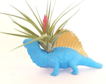 Light Blue & Gold Small Dinosaur Planter  Budding Air Plant / Valentines / Dinosaur Planter / Home Decor   / Perfect Gift