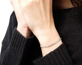 bar bracelet, diamond bracelet, friendship bracelet, silver bar bracelet, Coordinates, minimal bracelet, delicate bracelet, bridesmaid gift