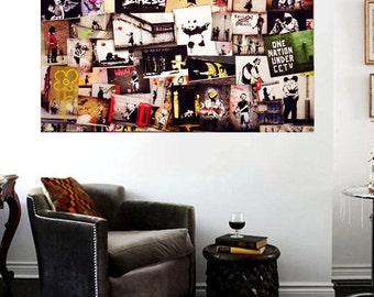 Banksy Street Art Collection Huge 36x24 Canvas Print Collage Vol 5 Graffiti NYC